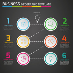 Dark info graphic timeline template with icons, circle 6 steps,