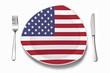 canvas print picture - Teller mit amerikanischer Flagge