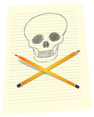 Vector format skull drawing on paper with crossed pencils