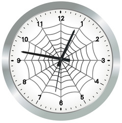 Vector format of metal analogue clock with spider web