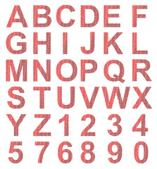 Vector format of alphabet created from small red stars