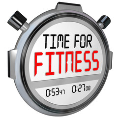 Time for Fitness Words Stopwatch Timer Training Exercise
