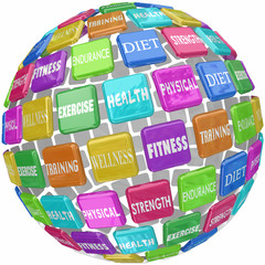Fitness Exercise Physical Health Words Globe Ball