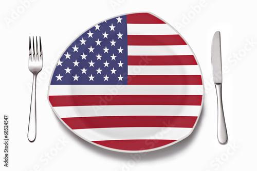 canvas print picture Teller mit amerikanischer Flagge