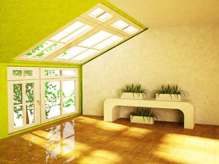 room with the green plants
