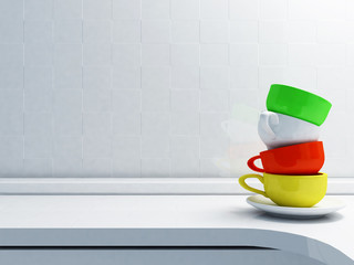 colorful cups on the table