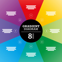 Eight sided full background gradient stripe diagram vector