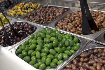green olives in the store