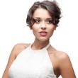 attractive brunette woman in white dress