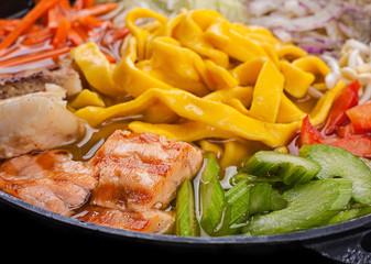 Ramen soup with salmon