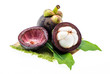 tropical mangosteen fruit on white background