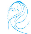 simple line illustration of beautiful women suitable for hair ca