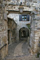 France: narrow side-street of medieval village