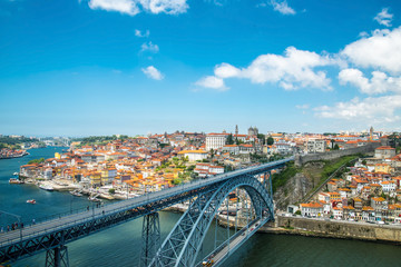 View of the historic city of Porto, Portugal with the Dom Luiz b