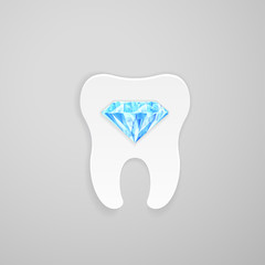 Tooth with blue diamond