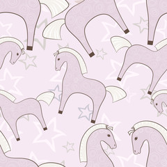 Pink horses girlish seamless pattern with stars background
