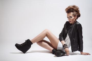 Fashion Rocker Style Model Girl Portrait. Hairstyle.