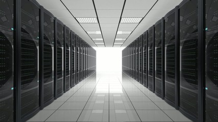 Looping animation of data center interior