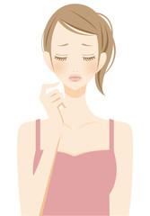 美容 スキンケアに悩む女性