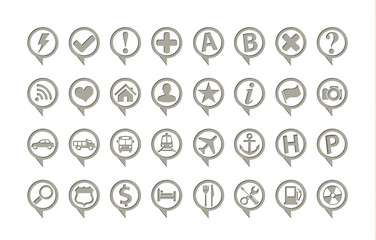 Map pointers navigation icons