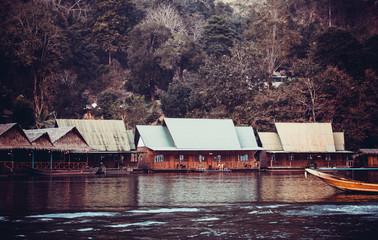 hotel on River Kwai in Kanchanaburi province, Thailand.  Floatin