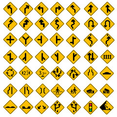 49 Vector Road Sign Set Yellow
