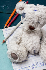 composition with soft toy bear and school notebook