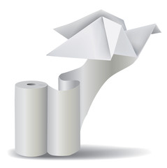 Roll of white paper with Origami Pigeon.