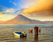 Leinwanddruck Bild - Beatiful sunset at the lake Atitlan near the volcano.