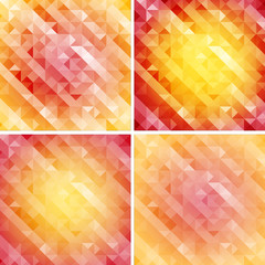 set of retro style geometric pattern,red bustling color