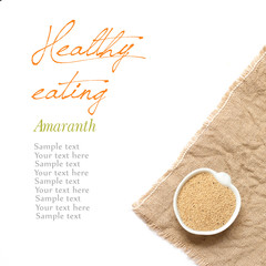 Raw Organic amaranth seeds in a bowl on a white background