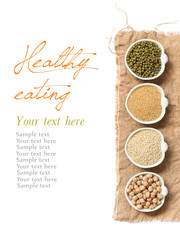 Raw Organic Amaranth and quinoa grains, chickpea and mung beans
