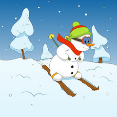 Snowman and winter sports