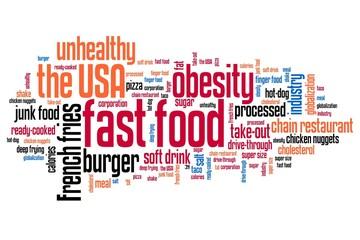 Bad diet fast food - word cloud concept