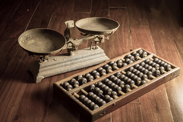 Ancient business tools,old scale and abacus