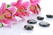 Obrazy na płótnie, fototapety, zdjęcia, fotoobrazy drukowane : Kamienie bazaltowe z różowymi liliami