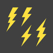 Flat lightning symbols set