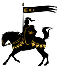 knight riding a horse with golden decor