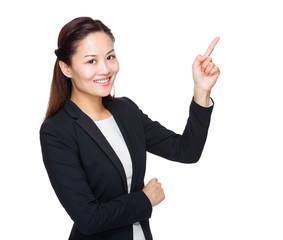 Businesswoman with finger up