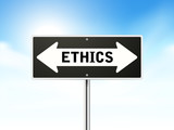 ethics on black road sign poster