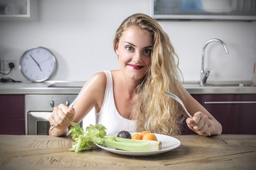 young woman eating healthy