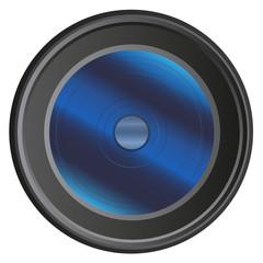 Modern camera lens isolated on white background