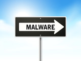 malware on black road sign poster
