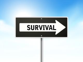 survival on black road sign