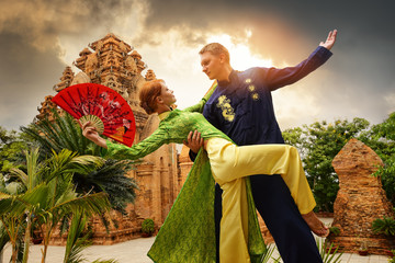 Couple dancing in traditional dress