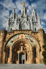 Tibidabo. Jesus Statue In Barcelona