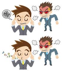 怒る上司と部下の態度