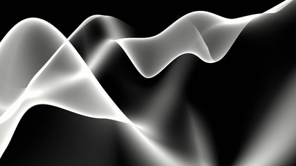 Abstract white wave against black background