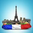 Paris landmarks, French baguette sandwich, funny collage