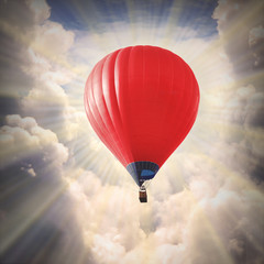 Hot air baloon on the sky.
